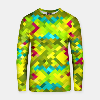 Thumbnail image of square pixel pattern abstract in yellow green blue red Cotton sweater, Live Heroes