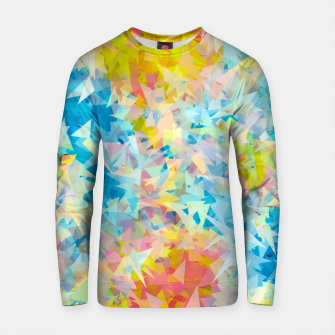 Thumbnail image of psychedelic geometric triangle abstract pattern in blue pink yellow Cotton sweater, Live Heroes