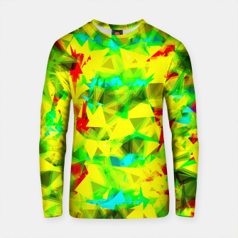 Thumbnail image of psychedelic geometric triangle abstract pattern in green yellow blue red Cotton sweater, Live Heroes