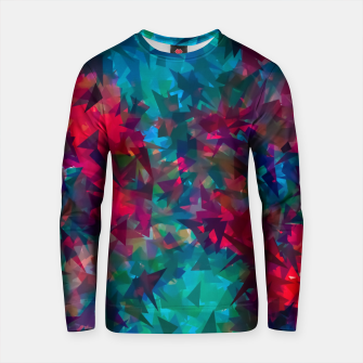 Thumbnail image of psychedelic geometric triangle abstract pattern in pink red blue Cotton sweater, Live Heroes