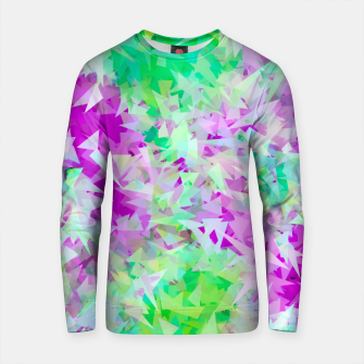 Miniature de image de psychedelic geometric triangle abstract pattern in purple and green Cotton sweater, Live Heroes