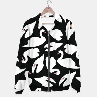 Thumbnail image of White Swans on Black Pattern Cotton zip up hoodie, Live Heroes