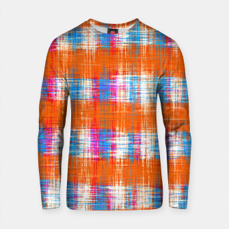 Thumbnail image of plaid pattern abstract texture in orange blue pink Cotton sweater, Live Heroes