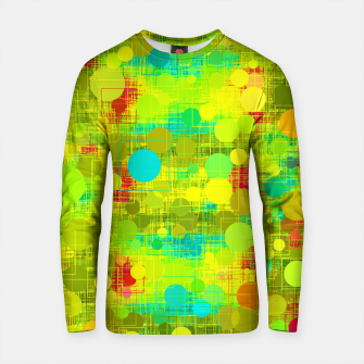 Thumbnail image of psychedelic geometric circle and square pattern abstract in yellow green blue red Cotton sweater, Live Heroes