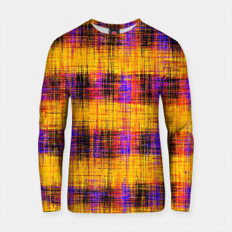 Thumbnail image of plaid pattern abstract texture in orange yellow pink purple Cotton sweater, Live Heroes