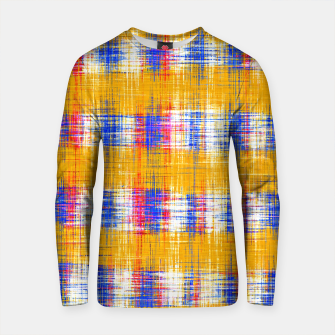 Thumbnail image of plaid pattern abstract texture in yellow blue pink Cotton sweater, Live Heroes