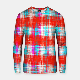Thumbnail image of plaid pattern abstract texture in in red blue pink Cotton sweater, Live Heroes