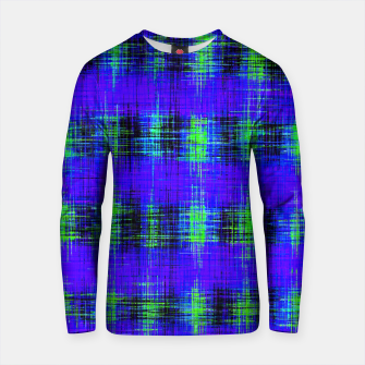 Thumbnail image of plaid pattern abstract texture in blue green black Cotton sweater, Live Heroes