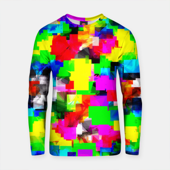 Thumbnail image of psychedelic geometric square abstract pattern in pink green yellow blue red Cotton sweater, Live Heroes