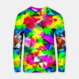 Thumbnail image of psychedelic geometric triangle abstract pattern in pink green yellow blue red Cotton sweater, Live Heroes