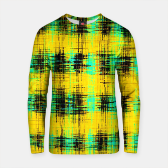 Thumbnail image of plaid pattern abstract texture in yellow green black Cotton sweater, Live Heroes