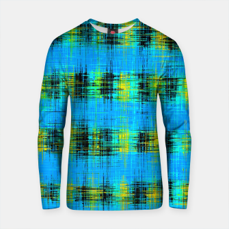 Thumbnail image of plaid pattern abstract texture in blue yellow black Cotton sweater, Live Heroes