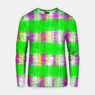 Thumbnail image of plaid pattern abstract texture in green pink white Cotton sweater, Live Heroes