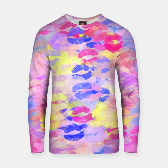 Thumbnail image of sexy kiss lipstick abstract pattern in pink blue yellow red Cotton sweater, Live Heroes