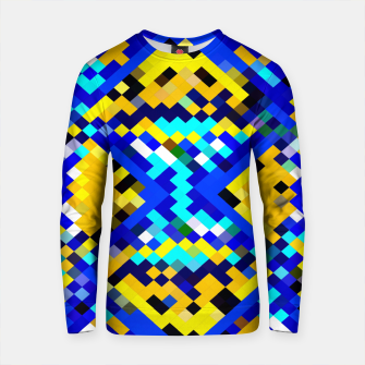 Thumbnail image of square pixel pattern abstract in blue and yellow Cotton sweater, Live Heroes