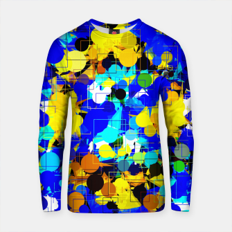 Thumbnail image of psychedelic geometric circle pattern and square pattern abstract in blue yellow brown Cotton sweater, Live Heroes