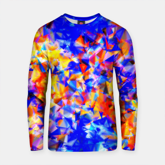 Thumbnail image of psychedelic geometric triangle abstract pattern in blue orange yellow Cotton sweater, Live Heroes