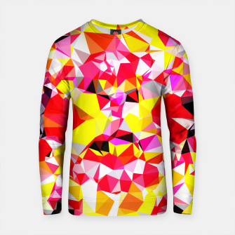 Thumbnail image of psychedelic geometric triangle polygon abstract pattern in red pink yellow Cotton sweater, Live Heroes