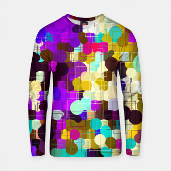 Thumbnail image of psychedelic geometric circle pattern and square pattern abstract in pink purple yellow blue Cotton sweater, Live Heroes