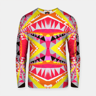 Thumbnail image of psychedelic geometric triangle polygon abstract pattern in red yellow pink black Cotton sweater, Live Heroes
