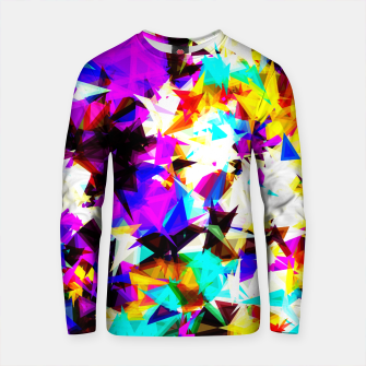 Thumbnail image of psychedelic geometric triangle abstract pattern in purple pink blue yellow red Cotton sweater, Live Heroes
