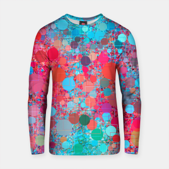 Thumbnail image of psychedelic geometric circle pattern and square pattern abstract in pink red blue Cotton sweater, Live Heroes