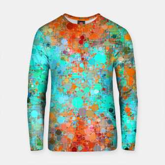 Thumbnail image of psychedelic geometric circle pattern and square pattern abstract in orange and blue Cotton sweater, Live Heroes