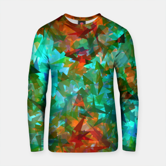 Thumbnail image of psychedelic geometric abstract pattern in green blue orange Cotton sweater, Live Heroes