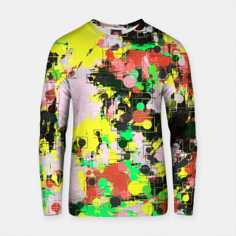 Thumbnail image of psychedelic geometric circle pattern and square pattern abstract in yellow red green black pink Cotton sweater, Live Heroes