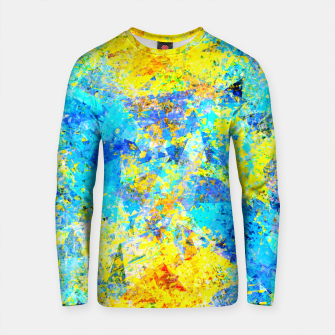 Thumbnail image of psychedelic geometric abstract pattern in yellow and blue Cotton sweater, Live Heroes