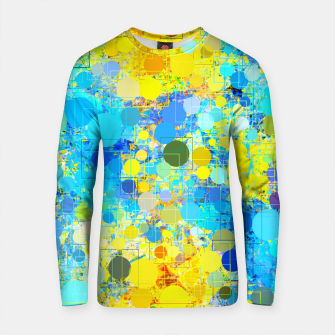 Thumbnail image of psychedelic geometric circle pattern and square pattern abstract in yellow and blue Cotton sweater, Live Heroes