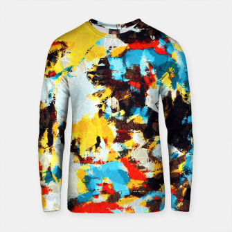 Thumbnail image of psychedelic geometric splash painting abstract pattern in yellow red blue brown Cotton sweater, Live Heroes