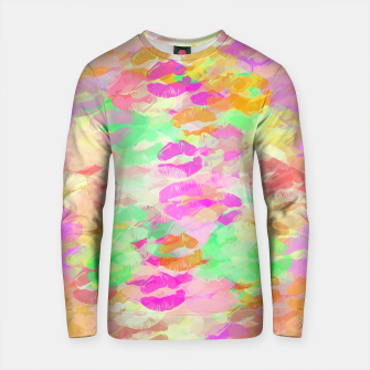 Thumbnail image of sexy kiss lipstick abstract pattern in pink orange yellow green Cotton sweater, Live Heroes