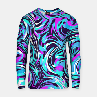 Thumbnail image of spiral line drawing abstract pattern in blue pink black Cotton sweater, Live Heroes