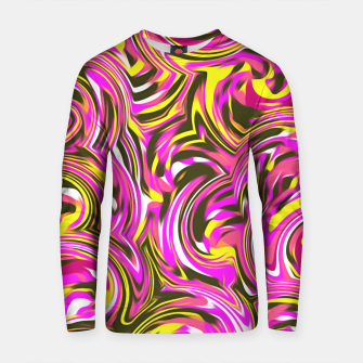 Thumbnail image of spiral line drawing abstract pattern in pink yellow black Cotton sweater, Live Heroes