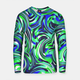 Thumbnail image of spiral line drawing abstract pattern in blue and green Cotton sweater, Live Heroes