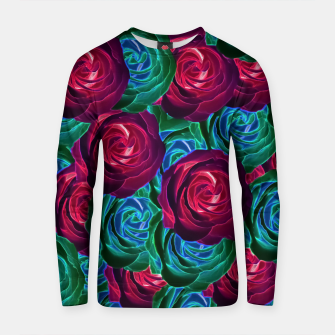 Thumbnail image of closeup blooming roses in red blue and green Cotton sweater, Live Heroes