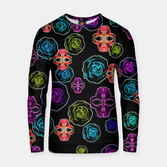 Thumbnail image of skull art portrait and roses in pink purple blue yellow with black background Cotton sweater, Live Heroes