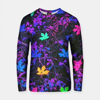 Thumbnail image of maple leaf in pink blue green yellow purple with pink and purple creepers plants background Cotton sweater, Live Heroes