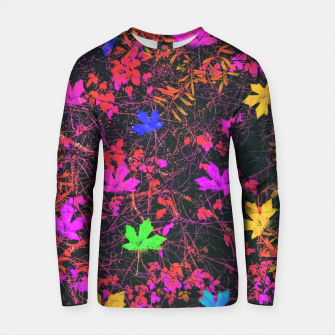 Thumbnail image of maple leaf in yellow green pink blue red with red and orange creepers plants background Cotton sweater, Live Heroes
