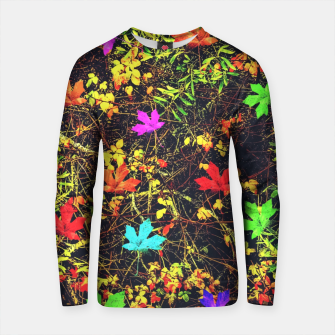 Thumbnail image of maple leaf in blue red green yellow pink orange with green creepers plants background Cotton sweater, Live Heroes
