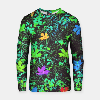 Thumbnail image of maple leaf in pink blue green yellow orange with green creepers plants background Cotton sweater, Live Heroes