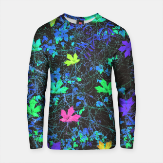 Thumbnail image of maple leaf in pink green purple blue yellow with blue creepers plants background Cotton sweater, Live Heroes