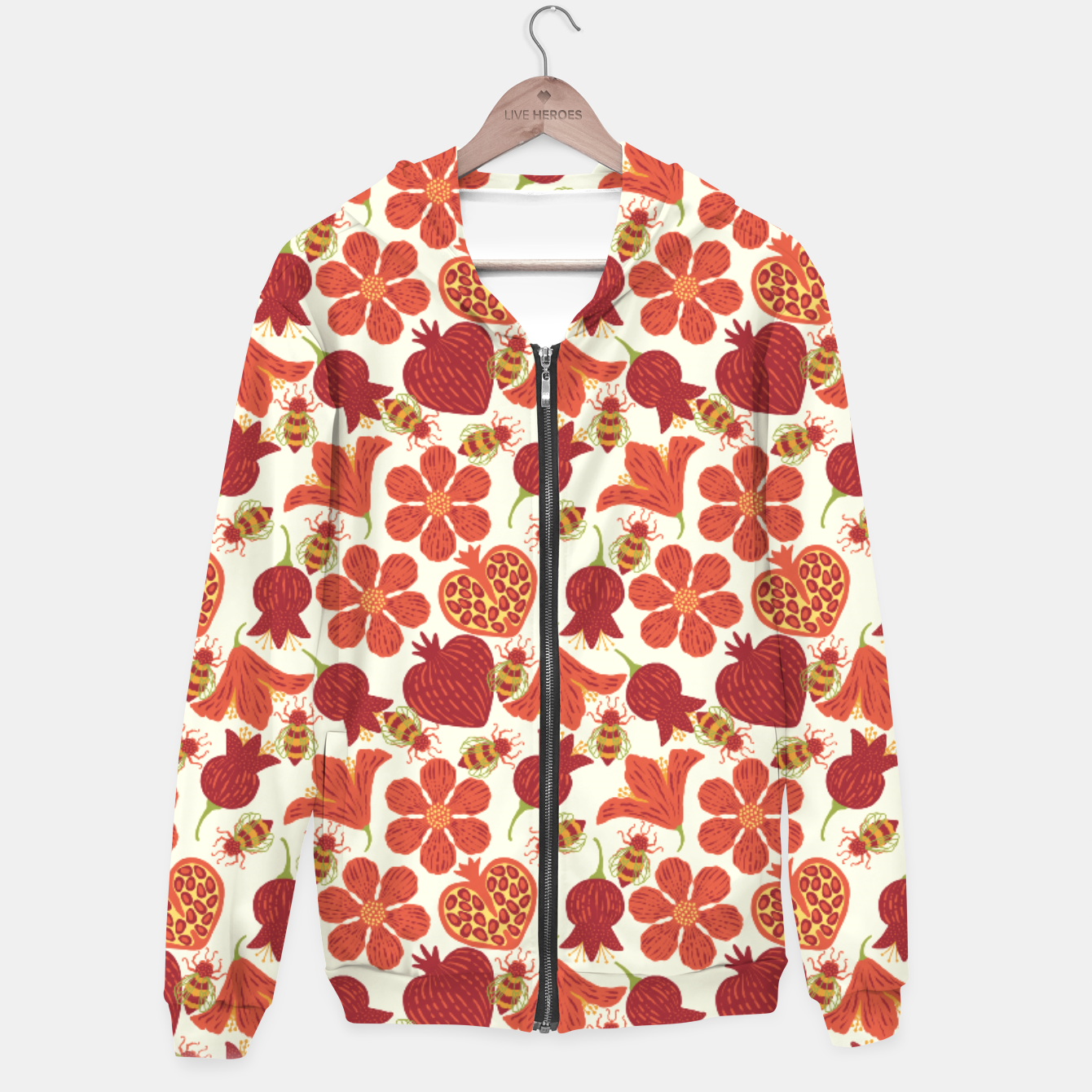 Imagen de Pomegranate Honey Cotton zip up hoodie - Live Heroes