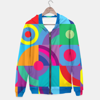 Thumbnail image of Geometric Figures in color Cotton zip up hoodie, Live Heroes
