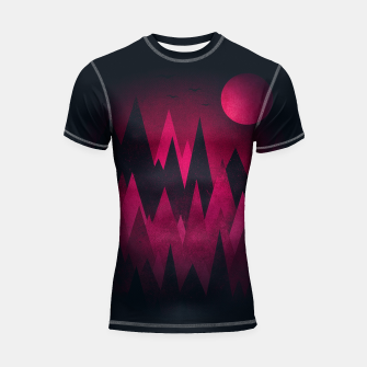 Dark Triangles (Peak Woods) Abstract Grunge Mountains Design (red/black) Shortsleeve rashguard miniature