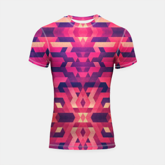Miniature de image de Abstract Symertric geometric triangle texture pattern design in diabolic magnet future red Shortsleeve rashguard, Live Heroes