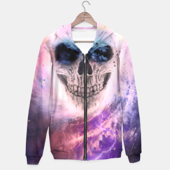 Thumbnail image of Skull Space Cotton zip up hoodie, Live Heroes