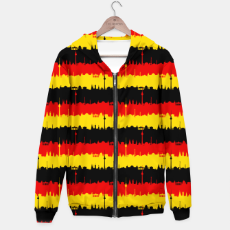 Thumbnail image of Germany Skyline Flag Repeating German Flag Red Cotton zip up hoodie, Live Heroes