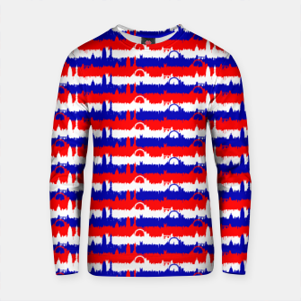 Thumbnail image of London UK Repeating Skyline on Red White and Blue Union Jack Colored Stripes Unisex sweater, Live Heroes